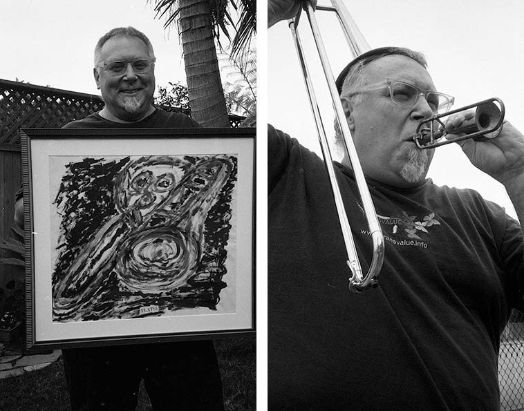 Michael Vlatkovich with his art and trombones and palm tree -- April 30, 2o12 Culver City, CA -- photos by Mark Weber