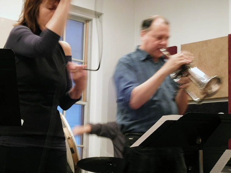 """Maryanne de Prophetis Quartet: Ron Horton (flugelhorn), Frank Kimbrough(piano), Satoshi Takeishi(drums -- note that he uses a frame drum in place of a kick drum) -- this is the same band as her new cd TELL A STAR -- November 18, 2016 at Michiko, 149 west 46th Street, Manhattan -- photo by Mark Weber who is still learning how to take digital photos -- (I have other more """"conventional"""" shots on film from this concert -- altho, it wasn't really a type of gig where you wanted to be snapping photos, it was quiet-like)"""