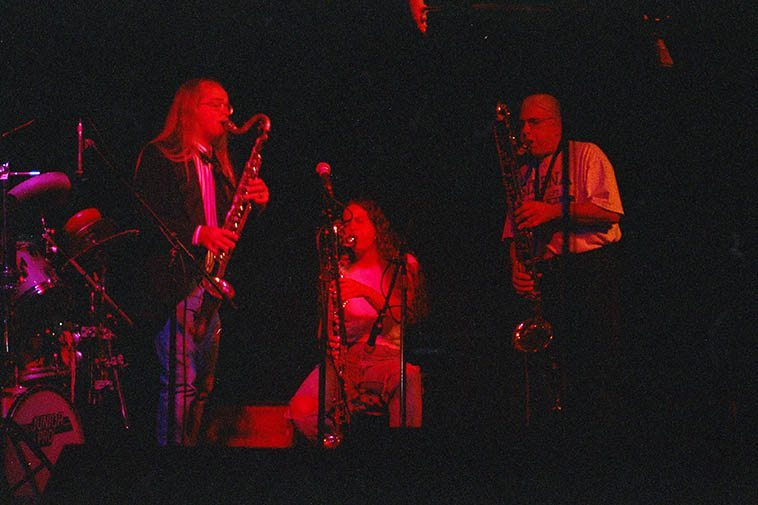 Ronda Rindone (bass clarinet), Kevin Higa (drums), Lynn Johnston (bass clarinet), Vinny Golia (contrabass clarinet) -- November 25, 1996 Alligator Lounge, Santa Monica, California -- photo by Mark Weber -- Vinny was a guest on this ensemble