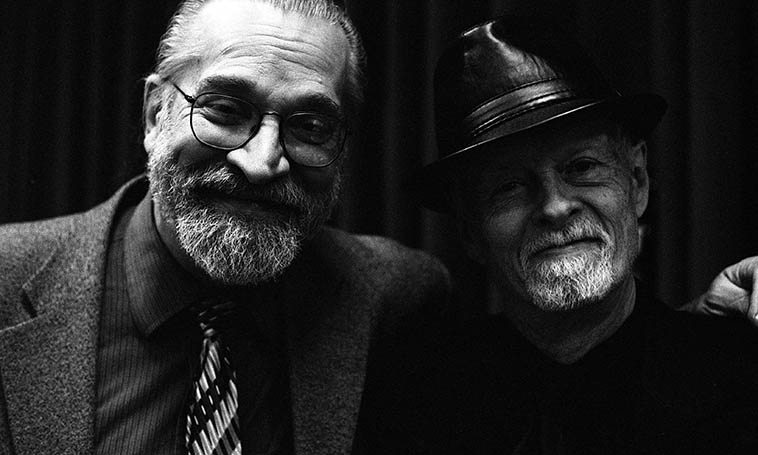 Two Jazz Musicians: a bass player and a drummer after the gig: Ratzo Harris and Jimmy Madison -- November 12, 2o16 Manalapan, New Jersey, members of Jack Walrath Quartet -- photo by Mark Weber