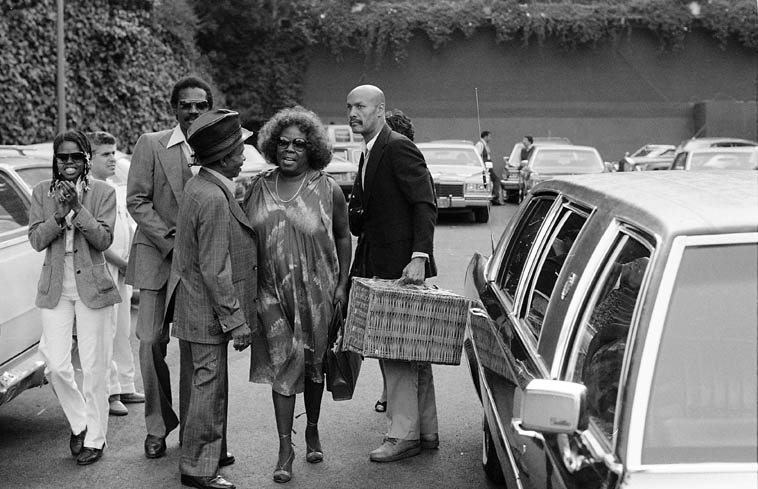 Two old Swing Street veterans: Sarah Vaughan arrives at Hollywood Bowl and the guy in top hat is trumpeter Lammar Wright Jr -- June 19, 1982 -- photo by Mark Weber