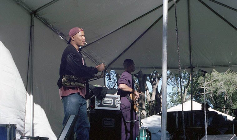 Steve Coleman and the 5 Elements -- Bataan Park Festival, Albuquerque -- September 15, 1996 -- produced by Outpost Productions -- photo by Mark Weber