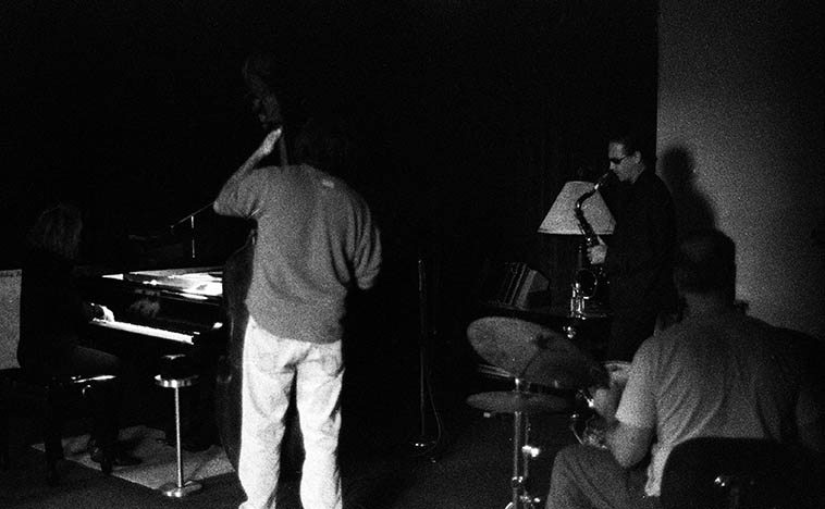 Connie Crothers at Sal Mosca's studio -- jam session -- Jimmy Halperin (tenor), Don Messina (bass), Bill Chattin (drums) -- Mt Vernon, New York -- December 4, 2004 photo by Mark Weber