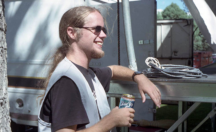 Patti Littlefield's son Jesse Randell -- September 15, 1996 -- photo by Mark Weber -- Jesse lives in Oakland, California these days (he grew up in Albuquerque) and teaches music at Alameda High on Alameda Island in the San Francisco Bay. He plays drums in Blue Bone Express and his mother tells me he is also a pilot and writing a screenplay.