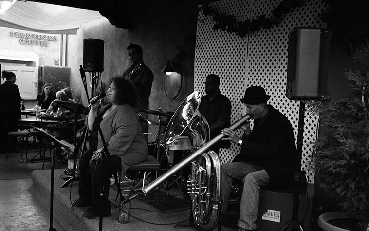 "Patti Littlefield & Mainstem, a little group she had going for awhile w/ Mark Weaver (tuba & didgeridoo), Claudio Tolousse Perez (guitar), Douglas Cardwell (drums) -- St Clair Winery, Albuquerque -- September 10, 2o11 -- photo by Mark Weber ------ Here's what Patti says about Sheila Jordan: ""When I was first starting to sing jazz, I discovered her, maybe heard her on the radio, not sure how. She blew me away. The song was Anthropology (which I am playing on my show today by the way). The way she scats is so fluid and at the time, was so different than the Ella school of Scat. I liked it a lot better and I've worked on it for years, but I can't even approach Sheila's genius. She is the joy of jazz. Her vocals are freedom & movement as she profoundly colors inside & outside the lines. She is simply the best."" *Patti is the Wednesday jazz host on KUNM as of April 22. A day that will go down in infamy."