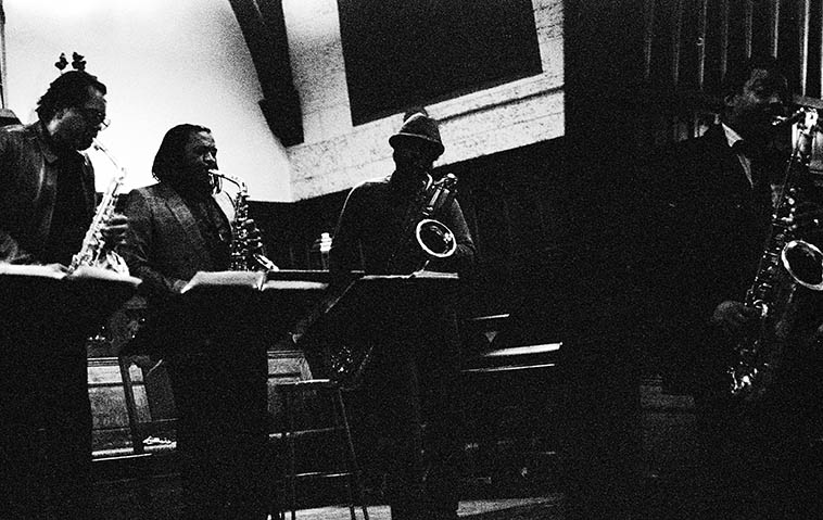 World Saxophone Quartet -- November 14, 1986 -- Harkness Chapel, Case Western Reserve University, Cleveland Heights, Ohio -- photo by Mark Weber -- Julius Hemphill, Oliver Lake, Hamiet Bluiett, David Murray ---- a complex band in the extreme
