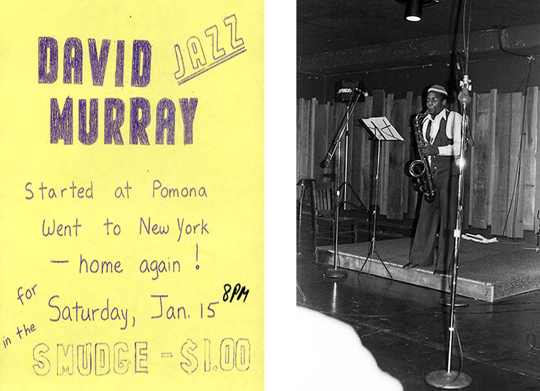 Handbill for concert at Claremont Colleges student union building basement in the legendary Smudge Pot with David performing that night: January 15, 1977 ---- photo by Mark Weber