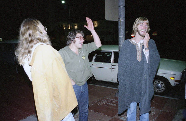 Wayne Peet, Vinny Golia, Alex Cline outside Century City Playhouse on the evening of the Evan Parker - Derek Bailey concert -- October 15, 1980 Los Angeles -- photo by Mark Weber