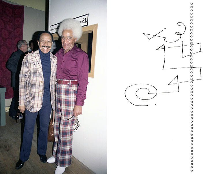 Two dancers: Fayard Nicholas & Foster Johnson at a recital for Foster's dance studio -- October 13, 1980 at Pasadena Film Forum (in conjunction with my first photo exhibit, curated by Terry Cannon) -- photo & line drawing by Mark Weber --------- Who's to know about dreams ---- My waking dream the other day was Fayard Nicholas calling me on the telephone and we talked minimally, outside the formalities and saying Hi, great to hear from you and how are you doing? He didn't talk hardly at all and there were long silences with no words, just quiet ---- He was elderly in this dream, I wonder'd if he was still alive and this dream was a portends that I should call him even though I really didn't know him, it was Foster who had introduced me and I used to bump into Foster all over town (Foster was the proprietor of the renowned Finale Club in L.A. in the early 50s where Bird played) ---- I ruminated on this dream on how older folks become quiet and our relationship with them is to abide in the quiet, I got out of bed and looked Fayard up and he had passed on in 2006, age 91, in Los Angeles ---- You've no doubt seen his dancing in movies like the amazing mind-blowing routines in Stormy Weather (1943) with his brother Harold as the Nicholas Brothers