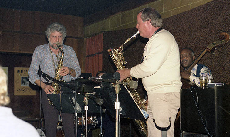 Lanny Morgan - Jack Nimitz Quintet in Cucamonga: Andrew Simpkins(bass), Lou Levy(piano), Dick Berk(drums) -- November 9, 1980 -- photo by Mark Weber -- Sunday afternoon concerts at Gilberto's on Rt 66
