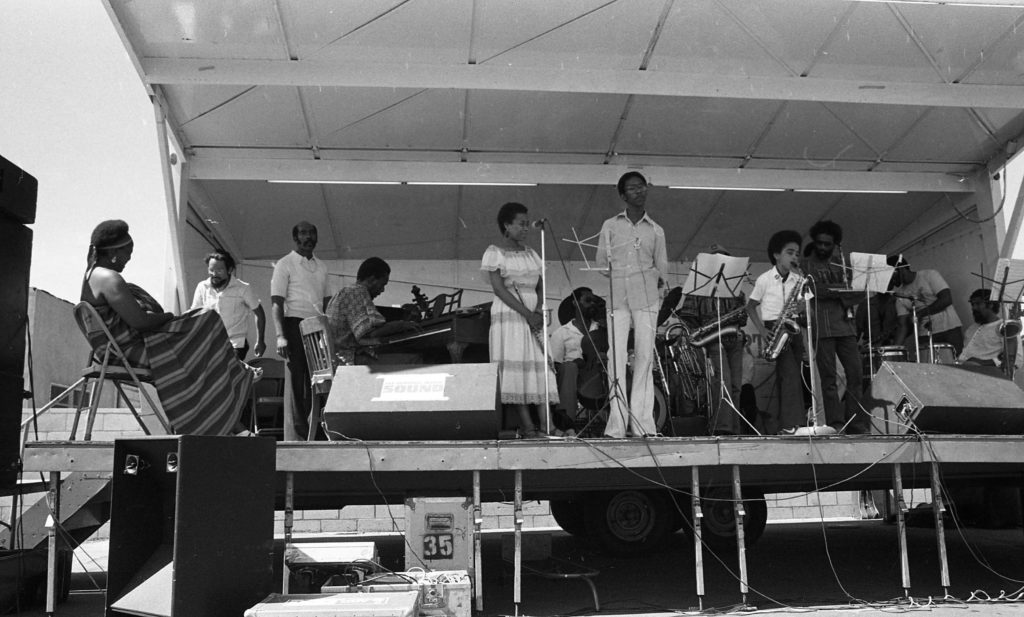 Zeke Cooper soloing on alto saxophone with the Pan Afrikan Peoples Arkestra at Watts Towers Jazz Festival -- July 7, 1979 -- photo by Mark Weber ---- Horace Tapscott seemed to know every musician in the community and was always encouraging the youngsters ----- I wonder where Zeke is today?   I see on stage Linda Hill (sitting behind Horace on piano), Roberto Miranda just behind Horace, also,  and that's Adele Sebastian on flute . . . . .