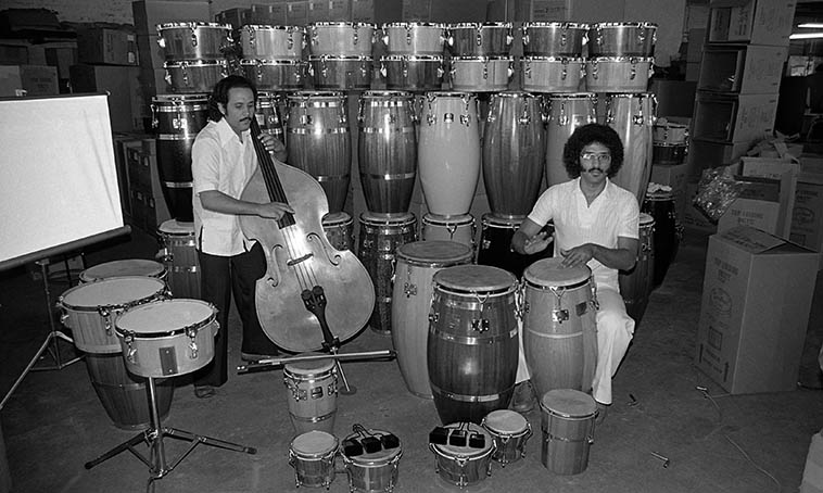 Roberto Miguel Miranda and Virgilio Figueroa -- photo shoot for Roberto's album RAPHAEL (Nimbus 1024) at Gon Bops drum factory, Los Angeles (38th & Santa Fe) -- April 29, 1980 -- photo by Mark Weber