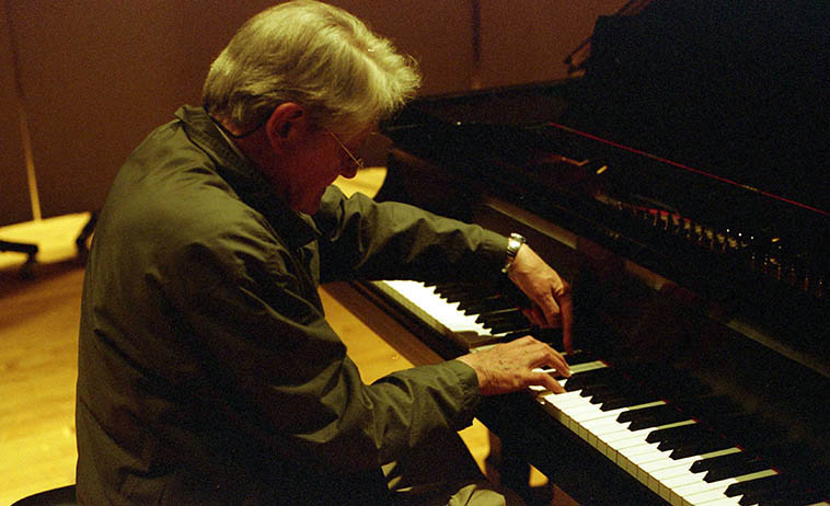 Gordon Mumma was visiting guest for the Composer's Symposium at University of New Mexico this week and when I asked he was all for it: Recording a KUNM translator I.D. -- this shot is from our afternoon session April 2, 2008 -- photo by Mark Weber ---- His piano compositions are so intensely concentrated and beautiful and peaceful and even though it isn't what you would call jazz, it's what someone with jazz ears could hear, so I'll play a little bit today . . . . . . . .