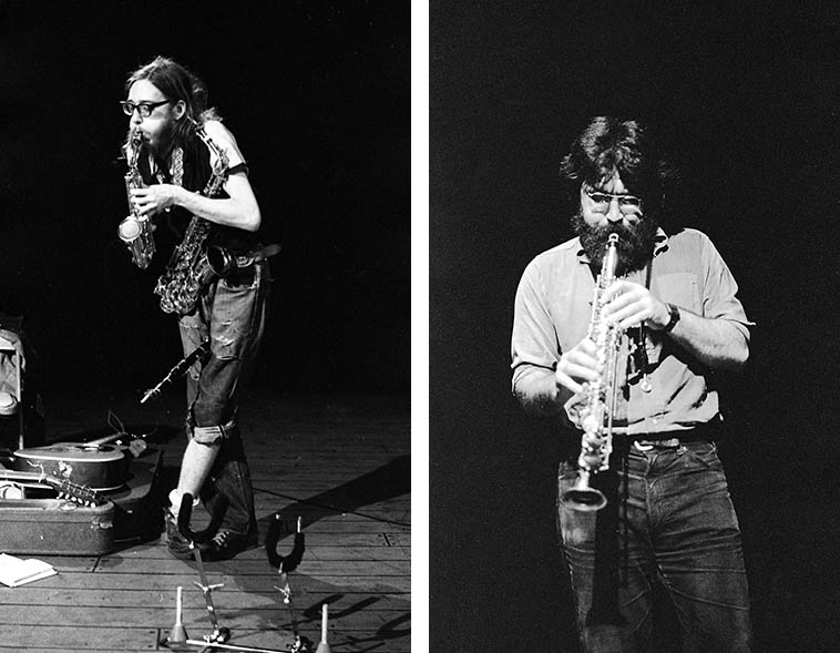 John Zorn playing a curved soprano with a tennis ball in the bell -- November 28, 1977 in duet w/ Eugene Chadbourne at Century City Playhouse, Los Angeles ---------- AND Evan Parker at same venue on October 29, 1978 ---- photos by Mark Weber