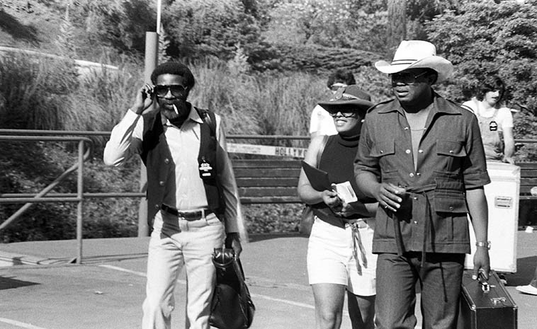 Joe Henderson and Freddie Hubbard arriving backstage at Hollywood Bowl Playboy Jazz Festival -- June 21, 1980 -- photo by Mark Weber