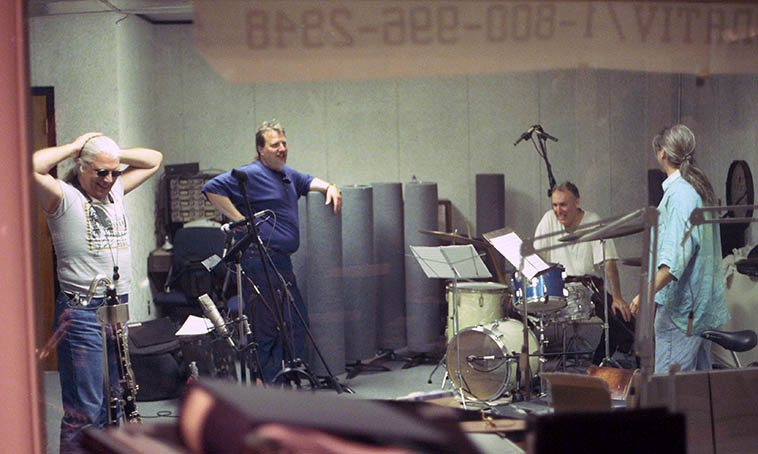 Rob Blakeslee Quartet minutes after an hour-long Live broadcast from Studio A ---- Vinny Golia (reeds), Rob (trumpet), Billy Mintz (drums), Ken Filiano (bass), May 24, 1997 -- photo by Mark Weber (I should re-broadcast this recording some day, these guys don't mess around)