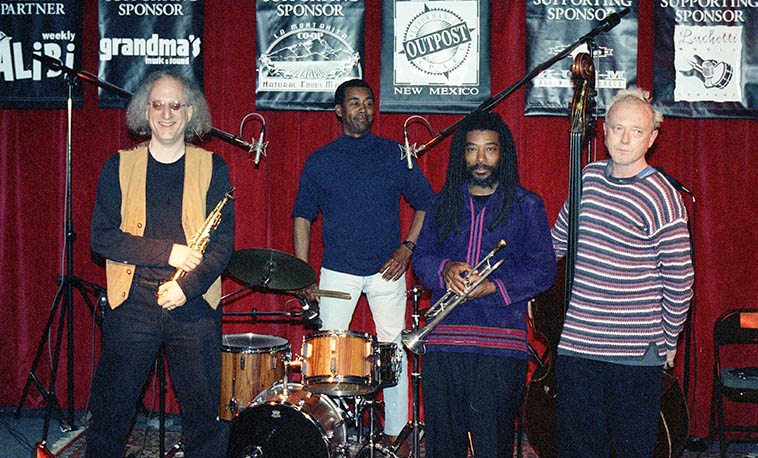 What We Live + Leo Smith ---- March 22, 1998 at Outpost Performance Space -- There's a CD released from this performance on Black Saint ---- Larry Ochs, Donald Robinson, Wadada Leo Smith, Lisle Ellis -- photo by Mark Weber