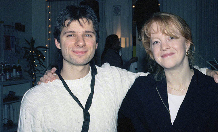 Saxophonist Jon Gordon and composer-arranger Maria Schneider at the old Outpost -- March 30, 1998 -- photo by Mark Weber