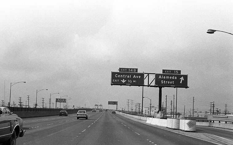 There's a lot of jazz history at that off-ramp ----------- Central Avenue, Los Angeles ---- Santa Monica Freeway ---- October 14, 1979 ---- photo by Mark Weber sitting shotgun
