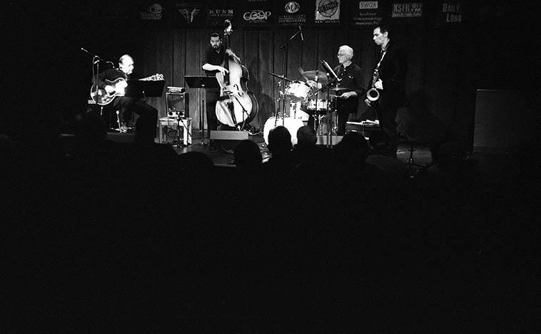 Michael Anthony Trio + Kanoa Kaluhiwa at Outpost Performance Space -- March 11, 2o10 ---- Michael Anthony(guitar), Milo Jaramilo(bass), Andy Poling(drums), Kanoa Kaluhiwa(tenor) -- photo by Mark Weber