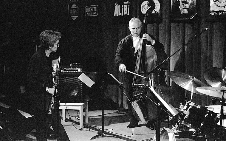 Bass solo by Cameron Brown ---- The Jane Ira Bloom Trio w/ Bobby Previte(drums) -- October 28, 1996 at the old Outpost -- photo by Mark Weber ---- Did you know Cameron can speak Swedish? He lived in Stockholm for several years, surprised me when he went into it with Eva Lindal (violinist) back in 2014 when we were all in town for a gig (NYC)