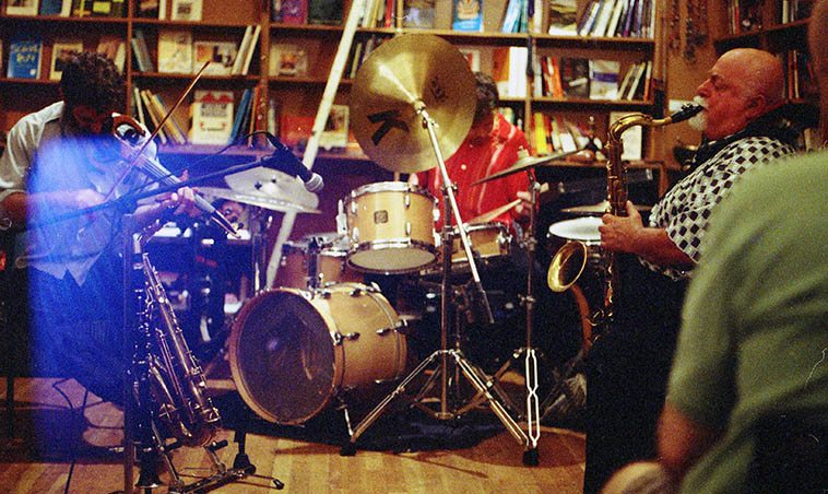 Joe Maneri Trio w/ his son Matt (electric 6-string violin) and Randy Peterson(drumset) at Biblios Bookstore, 317 Church Street