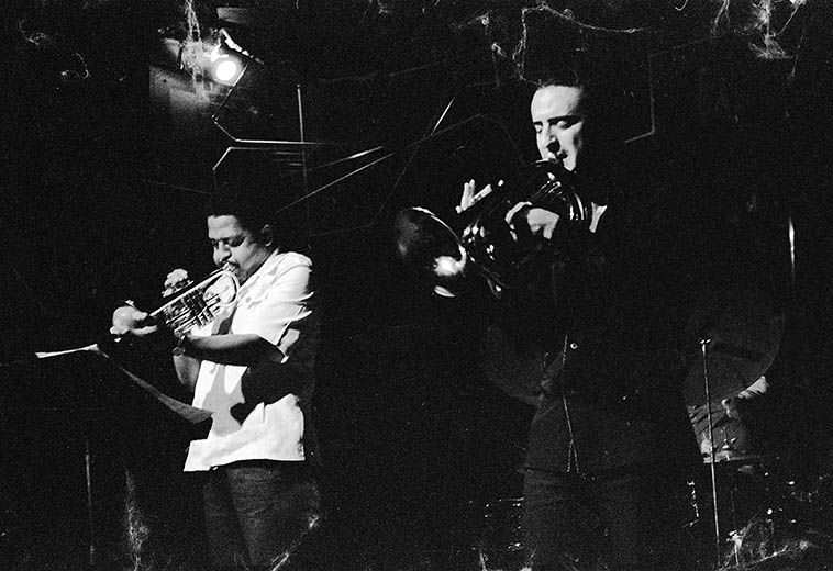"Bobby Bradford (cornet) and Glenn Ferris (bass trumpet) although, Glenn joked that it was actually a ""flugelbone"" -- April 1, 1979 Century City Playhouse, Los Angeles -- photo by Mark Weber"