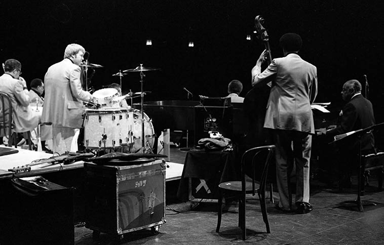 Butch Miles with Count Basie Orchestra -- February 17, 1979 -- Claremont Colleges, California -- photo by Mark Weber
