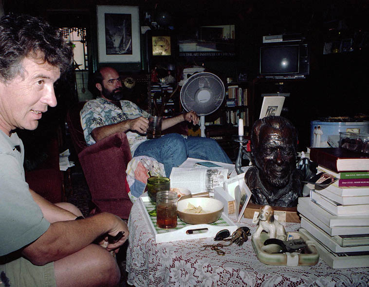 Ray Zepeda, Fred Voss, and bronze head of Bukowski (by Linda King) at Fred & Joan's crib in Long Beach (California) -- June 8, 1997 -- photo by Mark Weber ----- three of America's great poets