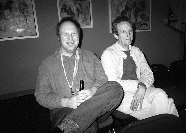 Toby Delius and Tristan Honsinger, tenor saxophonist and cellist with ICP Instant Composers Pool visiting from Amsterdam -- backstage at Outpost Performance Space, Albuquerque -- October 25, 2004 -- photo by Mark Weber