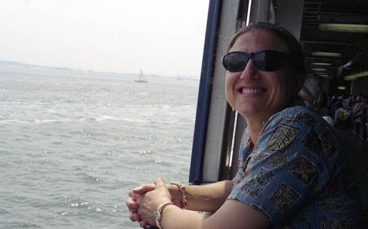 My wife Janet on the Staten Island Ferry -- July 2, 2003 -- photo by her husband -- This day (January 18) is her birthday, I have a special track to spin for the occasion