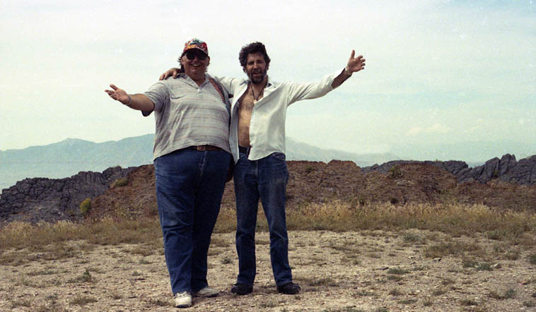 My hang buddy in Salt Lake City when we lived there ---- Brent Leake and myself on Stansbury Island, Great Salt Lake, Utah -- camera on a timer --- June 21, 1991 ------ Brent was a great guy and poet and friend, he got away from us November 5, 2017 age 65 ---- He visited us down here after we moved to Albuquerque, you can hear him on ALBUZERXQUE records and we did a chapbook together on Zerx, as well ----- The last time we talked, a few months ago over the telephone I implored him to write the story of the day we visited Kell Robertson, but he never got around to it, I'll tell the story soon, what a crazy day that was . . . .