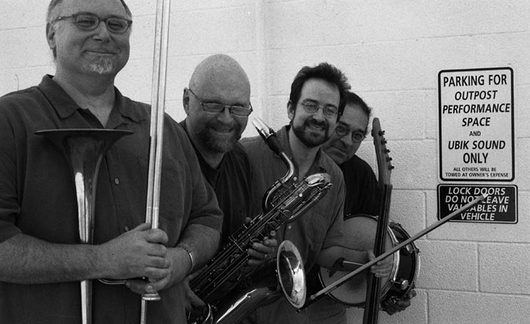 Michael Vlatkovich Quartet: Michael, David Mott, Jonathan Golove, Chris Garcia -- May 19, 2003 -- photo by Mark Weber ---- You can hear the concert from this night on cd ALiveBURQUERQUE (pfMENTUM 045)