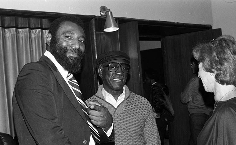 "Henry Franklin and John Carter -- at the Local 47 benefit for Dolo Coker -- March 20, 1983 -- photo by Mark Weber ---- Henry was the bass player on John & Bobby's albums SELF-DETERMINATION MUSIC (1969) and SECRETS (1971) among many other great records he was a part of all these years, as well as the late Hugh Masekela's band and the bass player on the 1968 hit ""Grazing in the Grass"" (I just played Jack Sheldon's wild version of that song on my radio show in remembrance of Hugh Masekela)"