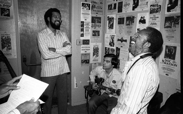 Stanley Cowell, Tony Purrone, Jimmy Heath backstage at The Barn, Univeristy of Redlands, California, on tour with the Heath Brothers -- May 24, 1980 -- photo by Mark Weber (those are Percy's hands at extreme left) -- Those stripe shirts must have been their uniforms