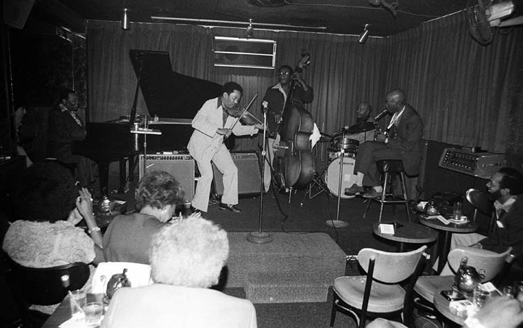 Jay McShann visits Los Angeles! and brings Claude Fiddler Williams(violin) and Paul Gunther(drums) from Kansas City, and they pick up Angelinos Larry Gales(bass) and Eddie Cleanhead Vinson(alto) -- September 23, 1980 -- Parisian Room -- photo by Mark Weber