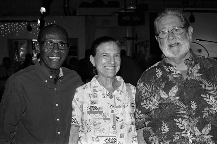 George Cables needs our help -- That's George with Janet Simon and Bobby Shew -- (George only knows me as Dr Simon's husband, she's a podiatrist and has advised George for years regarding his feet) -- October 4, 2o14 at the Outpost show for The Cookers -- photo by Mark Weber ---- For details see > https://www.gofundme.com/team-george-cables ---- both Janet and Bobby have already donated