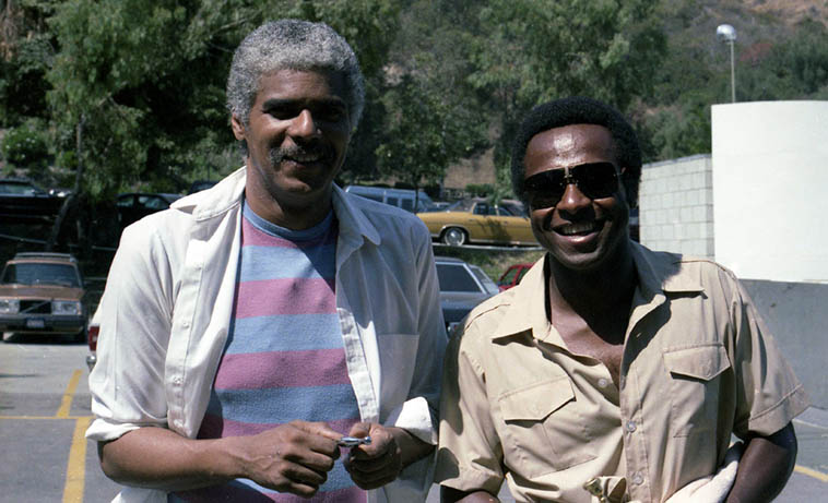 Don Alias & Oscar Brashear -- June 16, 1984 Playboy Jazz Festival -- photo by Mark Weber ---- Don Alias worked on Joni Mitchell albums 1977-1980 including MINGUS, as well as Miles BITCHES BREW, as well as Jeremy Steig, Tony Williams Lifetime, Airto, Chick, and 351 recording sessions listed at Tom Lord Discography