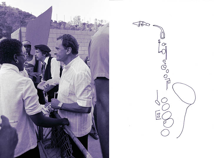 Two saxophonists: Richie Cole and Stan Getz, never the twain shall meet -- Hollywood Bowl -- June 20, 1981 -- photo and line drawing by Mark Weber