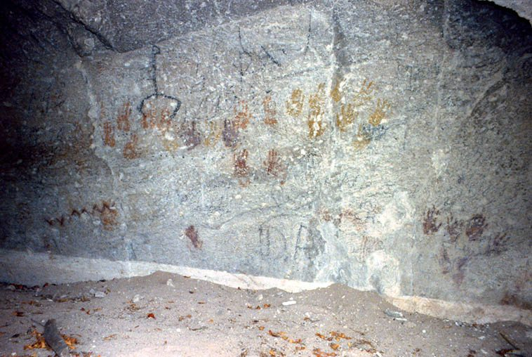 As far back as 160,000 years ago humankind have been using red ochre to illustrate their self-aware existence ---- This is the Cave of 100 Hands, Fremont Indian State Park, Utah -- April 7, 1990 -- photo by Mark Weber -- these pictographs date from a thousand years ago, to as far back as 400 AD ---- It's quiet out there ---- Listening is an art ---- There's a lot to it, but basically you sit and focus -- I tell beginners to listen for the first note, and pay attention to where it all goes in relation to that note ---- I also suggest listening with eyes closed ---- and if you're new to jazz try this: There's a quintet on stage, single out one instrument and concentrate purely on that instrument and how it negotiates within the quintet and everything around it, become that instrument