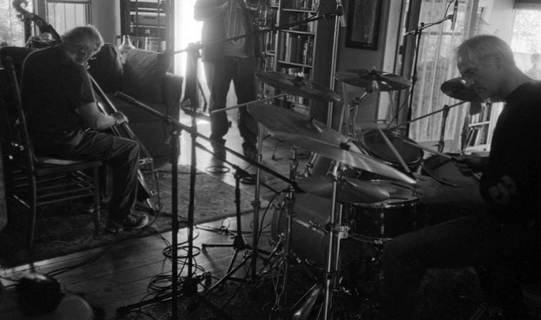 Michael Vlatkovich(trombone), Clyde Reed(bass), Dave Wayne(drumset) -- September 22, 2012 -- photo by Mark Weber