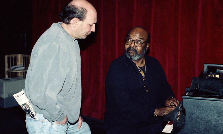 James Moody showing something to fellow tenor player Tim Zannes -- Outpost Performance Space, Albuquerque -- April 21, 1997 -- photo by Mark Weber