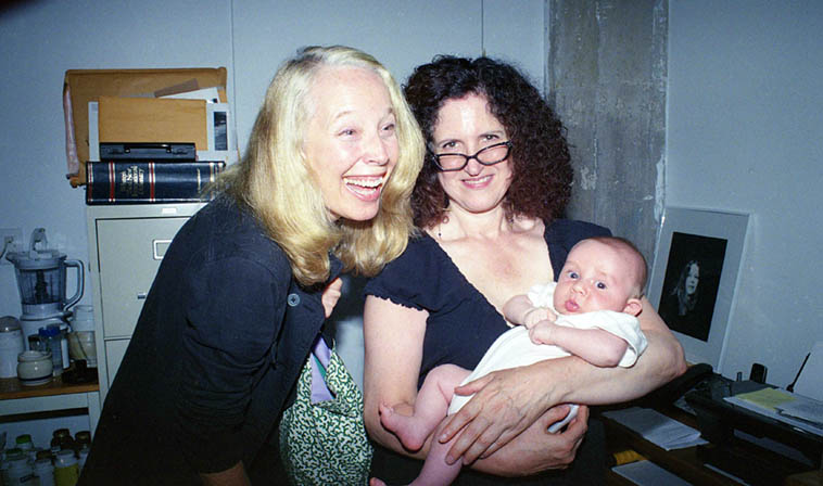 Two pianists and a baby: Kazzrie Jaxen and Carol Liebowitz and Quincy Sanguedolce at Connie's loft in Williamsburg -- September 10, 2o13 -- photo by Mark Weber ---- There was a vibrant scene around Connie Crothers for years