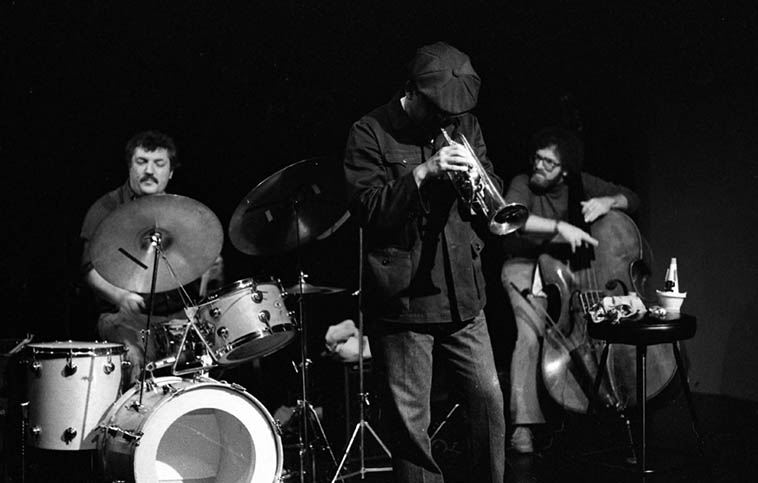 Bobby Bradford Trio -- October 21, 1979 at Century City Playhouse -- Bobby(cornet), Bert Karl(drums), Noah Young(bass -- photo by Mark Weber