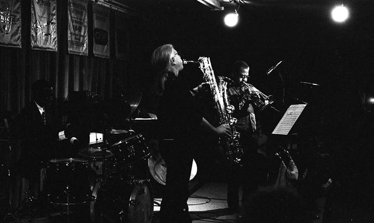 Bobby Bradford Mo'tet at Outpost Performance Space, Albuquerque -- April 21, 1995 -- Vinny Golia(saxophones), William Jeffrey(drums), Roberto Miranda(bass) -- photo by Mark Weber -- A very good recording of this concert exists -- one track was released on cd compilation ALBUZERXQUE Vol. 26 (2007, Zerx Records 071)