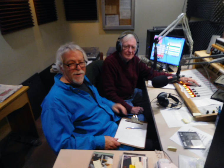 Arlen Asher & Mark Weber on the KSFR Jazz Experience in the midst of our 3-hour over-view we called Timeless Duke Ellington -- December 18, 2o17 Santa Fe -- photo snapped by operations manager Sean Conlon on that stupid Nikon Coolpix shirtpocket digital I have since thrown into the dumpster (the read-out says it was 10:40am)