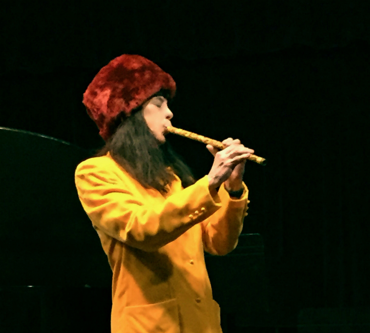 Playing nai flute in solo concert at New York City's Greenwich House, January, 29, 2018 (part of ESP-Disk's 50th anniversary event) (photographer: Bonny Finberg)