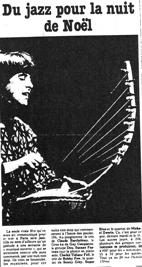 "Kali Z Fasteau playing African harp, Paris circa 1978 (in ""Liberation"" newspaper, photographer unknown)"