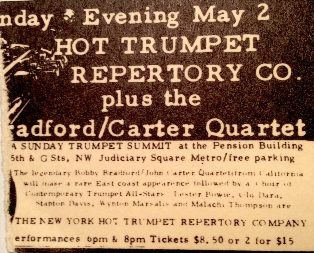 1982 – May 2 – Bobby & John play Washington DC in quartet ----- absolute proof / ticket stub provided by Michael Zelner
