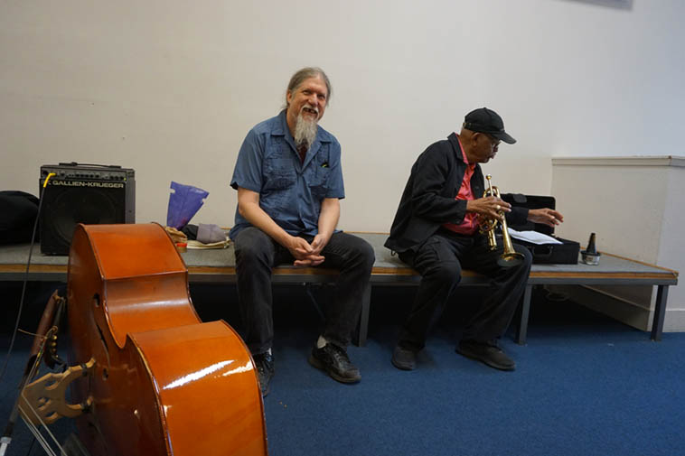 Afternoon rehearsal at Local 6 Musician's Union, San Francisco ---- bassist Bill Noertker and Bobby Bradford – Saturday July 28, 2o18 – photo by Mark Weber